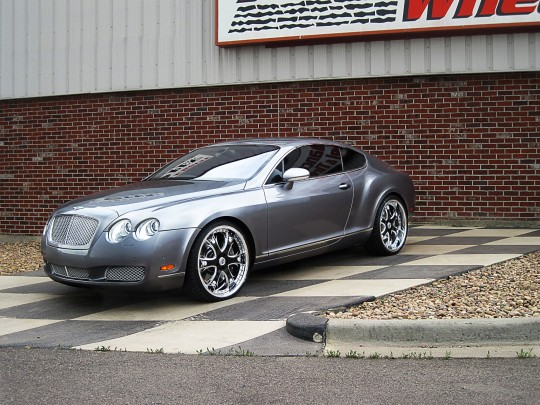 Silver 2011 Bentley GT with Black and Chrome custom LT-704 wheels