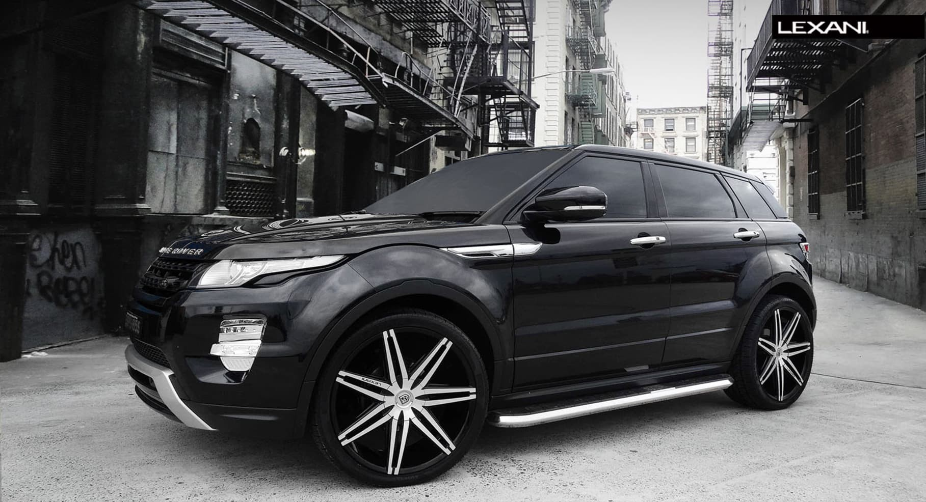 2013 Range Rover Evoque with brushed/black Johnson II rims.