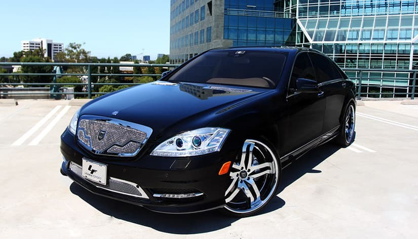 2013 Mercedes-Benz S550 with chrome LS-715 rims.