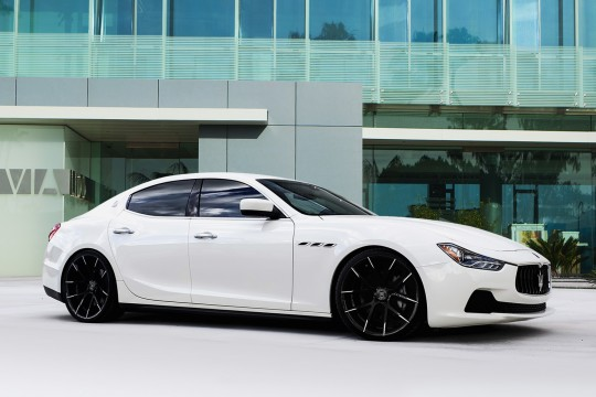 White Maserati Ghibli on black and white Stuttgart wheels