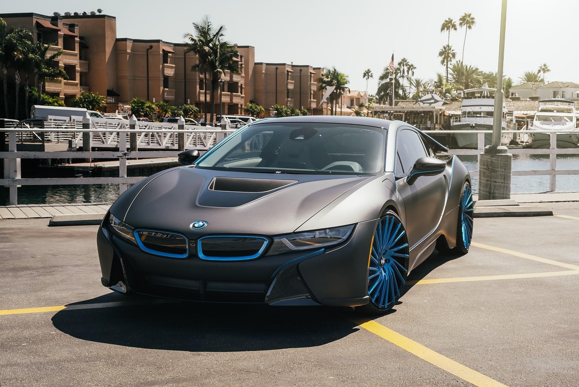 Matte black BMW i8 on Wraith wheels