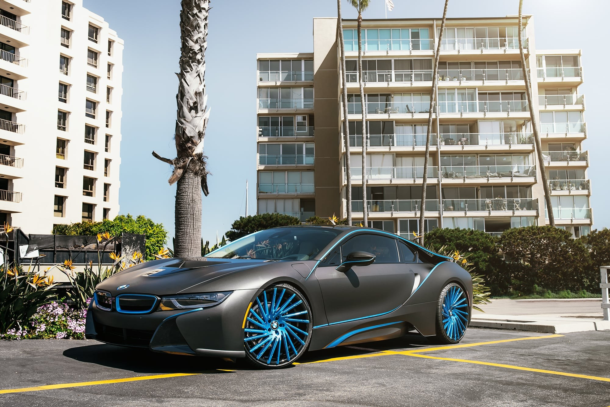 Matte black BMW i8 on Wraith wheels