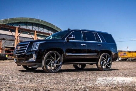"Cadillac Escalade on 26"" Cyclone Gloss Black and Machine Accents"