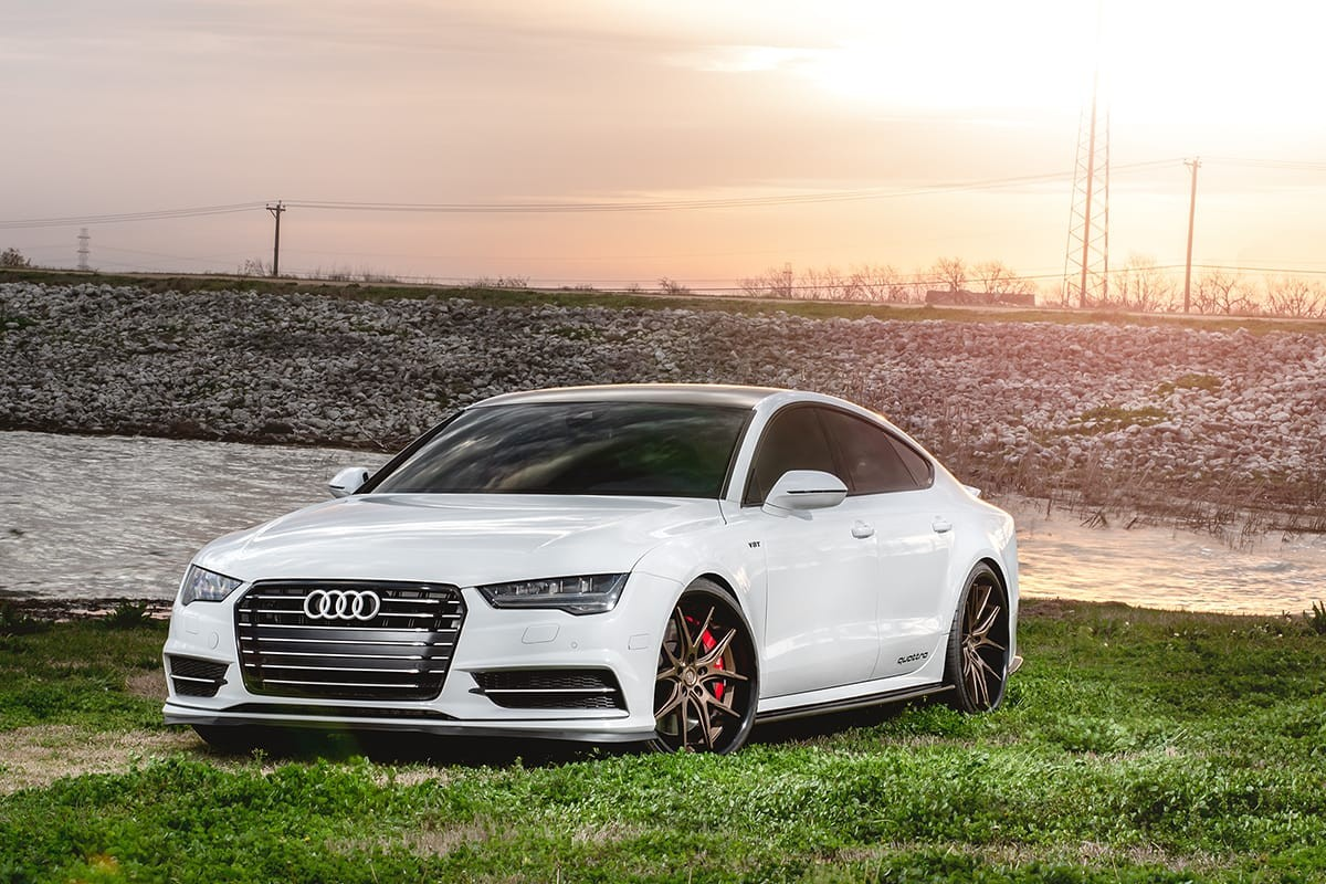 Audi S7 on bronze R12 Lexani wheels