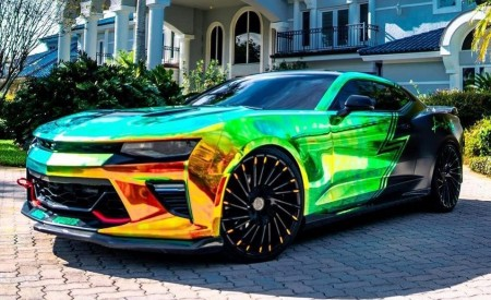 Custom Wrapped Camaro on Wraith Custom Finish