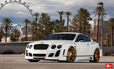 Bentley GT Satin White Wrap on 24K Gold Wheels