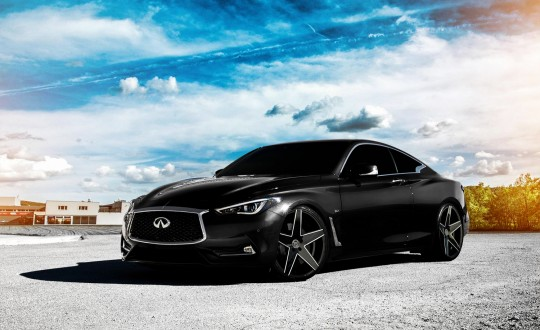 Black Q60 on black and white Mainz wheels
