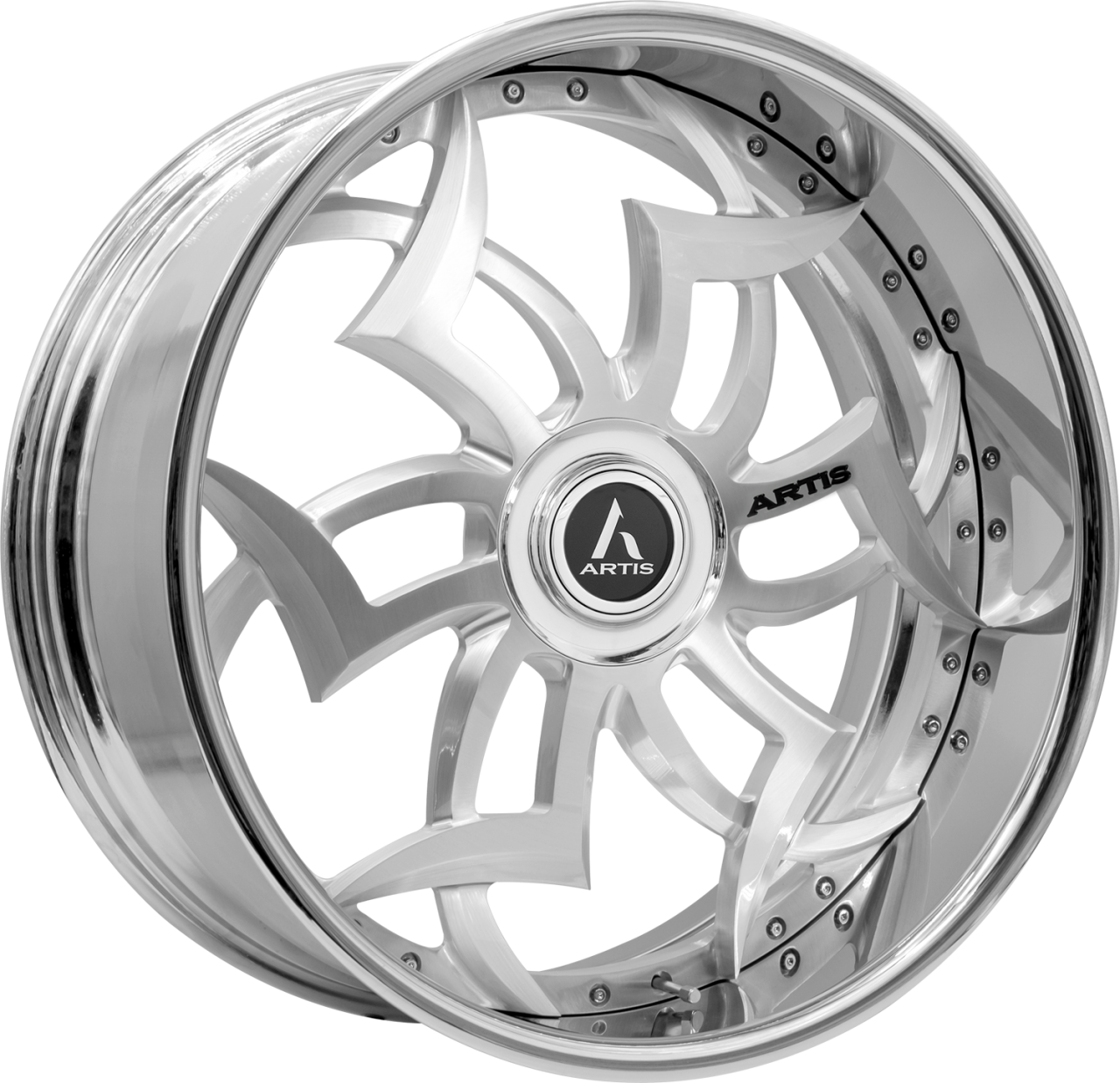 Artis Forged Medusa wheel with Brushed with XL Floater Cap finish