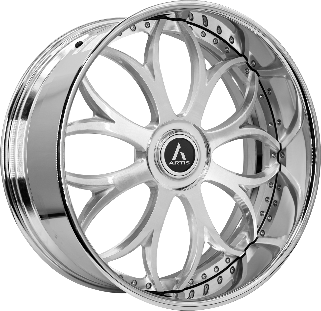 Artis Forged Radon wheel with Brushed with XL Floater Cap finish