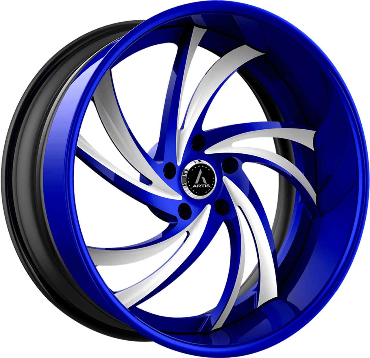 Artis Forged Twister wheel with Custom Blue with White Accents finish
