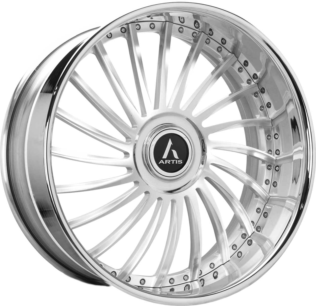 Artis Forged International wheel with Brushed with XL Floater Cap finish