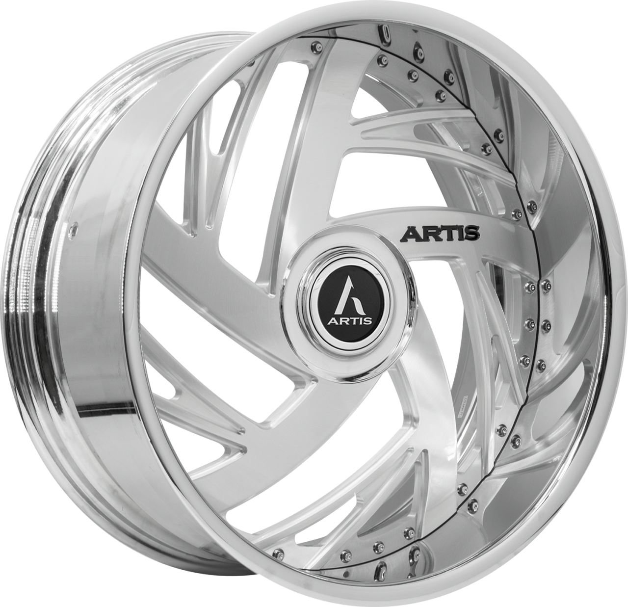 Artis Forged Southside wheel with Brushed with XL Floater Cap finish