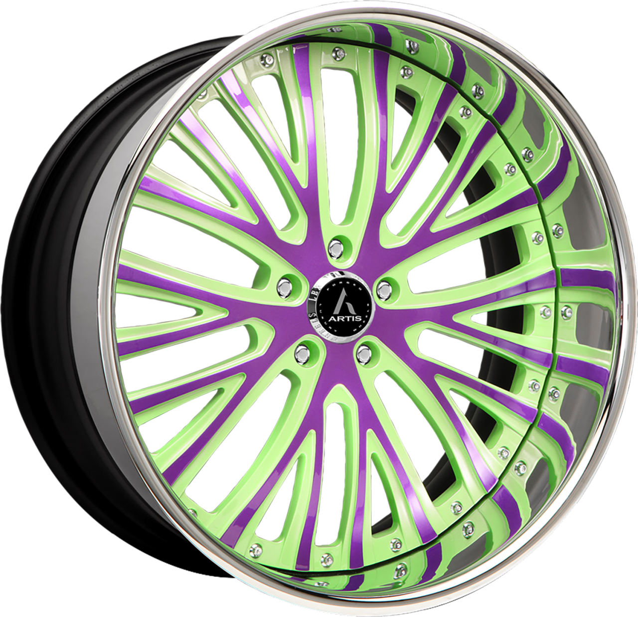 Artis Forged Woodward wheel with Custom Purple and Green finish