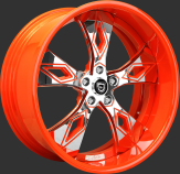 Custom - Chrome and orange finish.