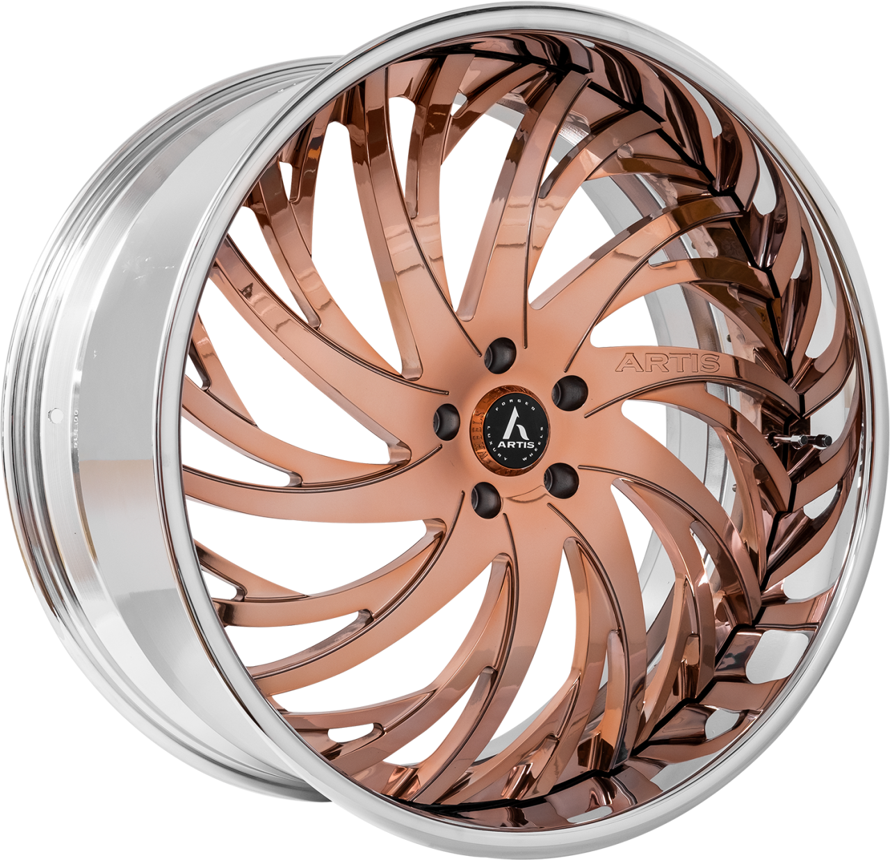 Artis Forged Decatur wheel with Rose Gold with Chrome Lip finish