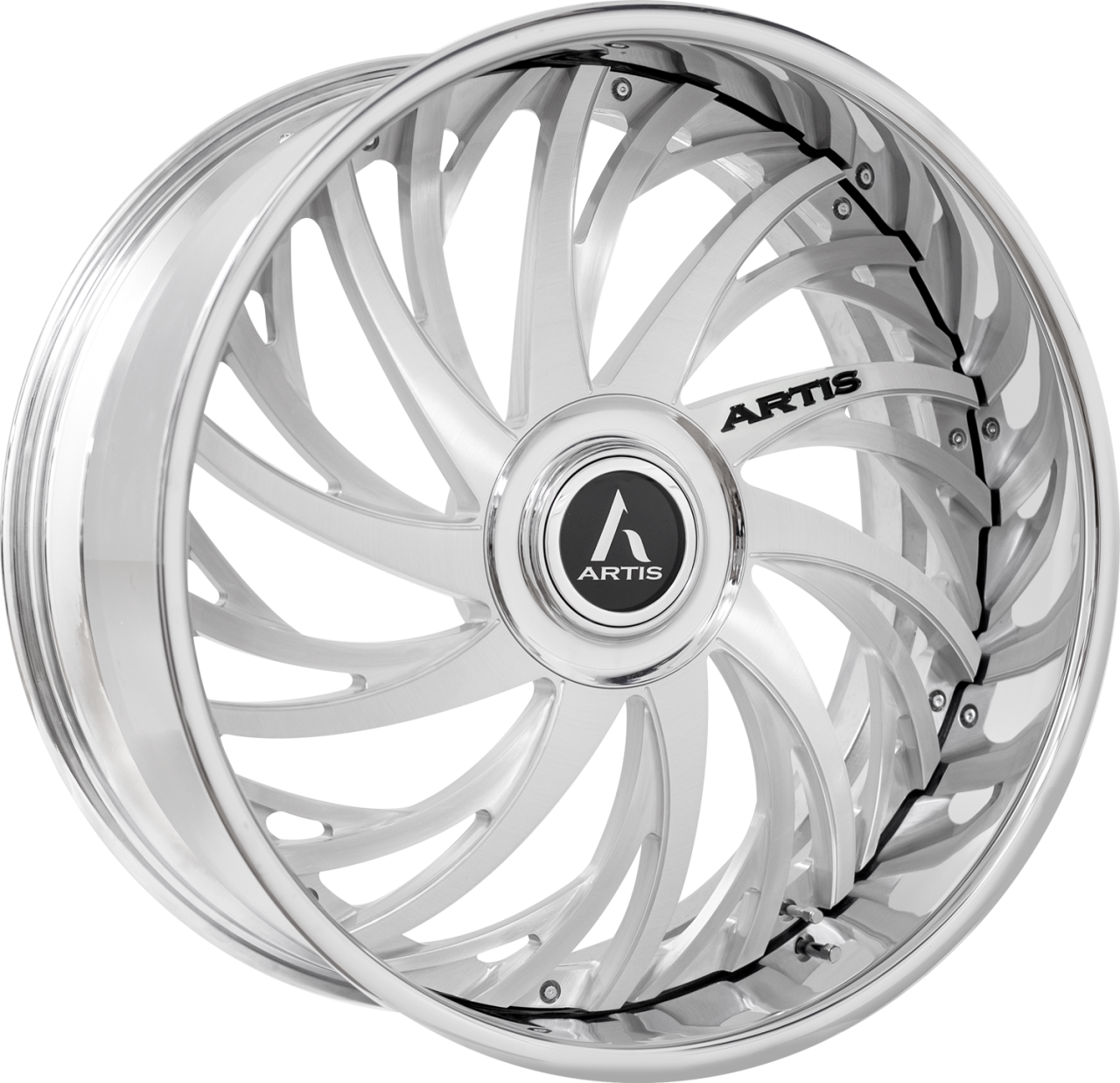 Artis Forged Decatur wheel with Brushed with XL Floater Cap finish