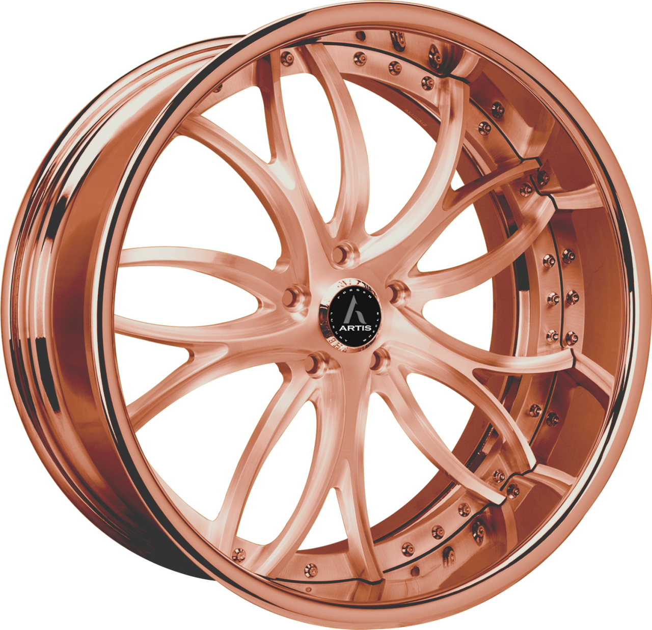 Artis Forged Biscayne wheel with Custom Rose Gold finish