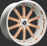 Custom orange and white finish.