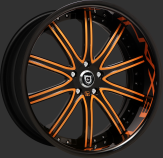 Custom black and orange finish.