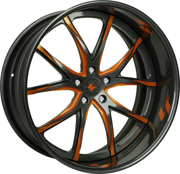 Custom - orange and gunmetal finish.