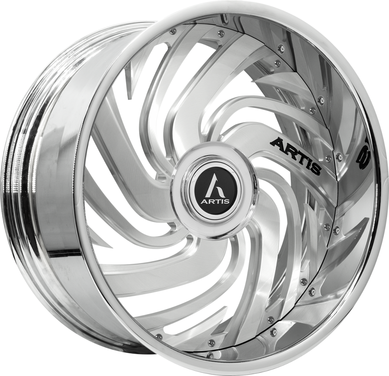 Artis Forged Fillmore wheel with Brushed with XL Floater Cap finish