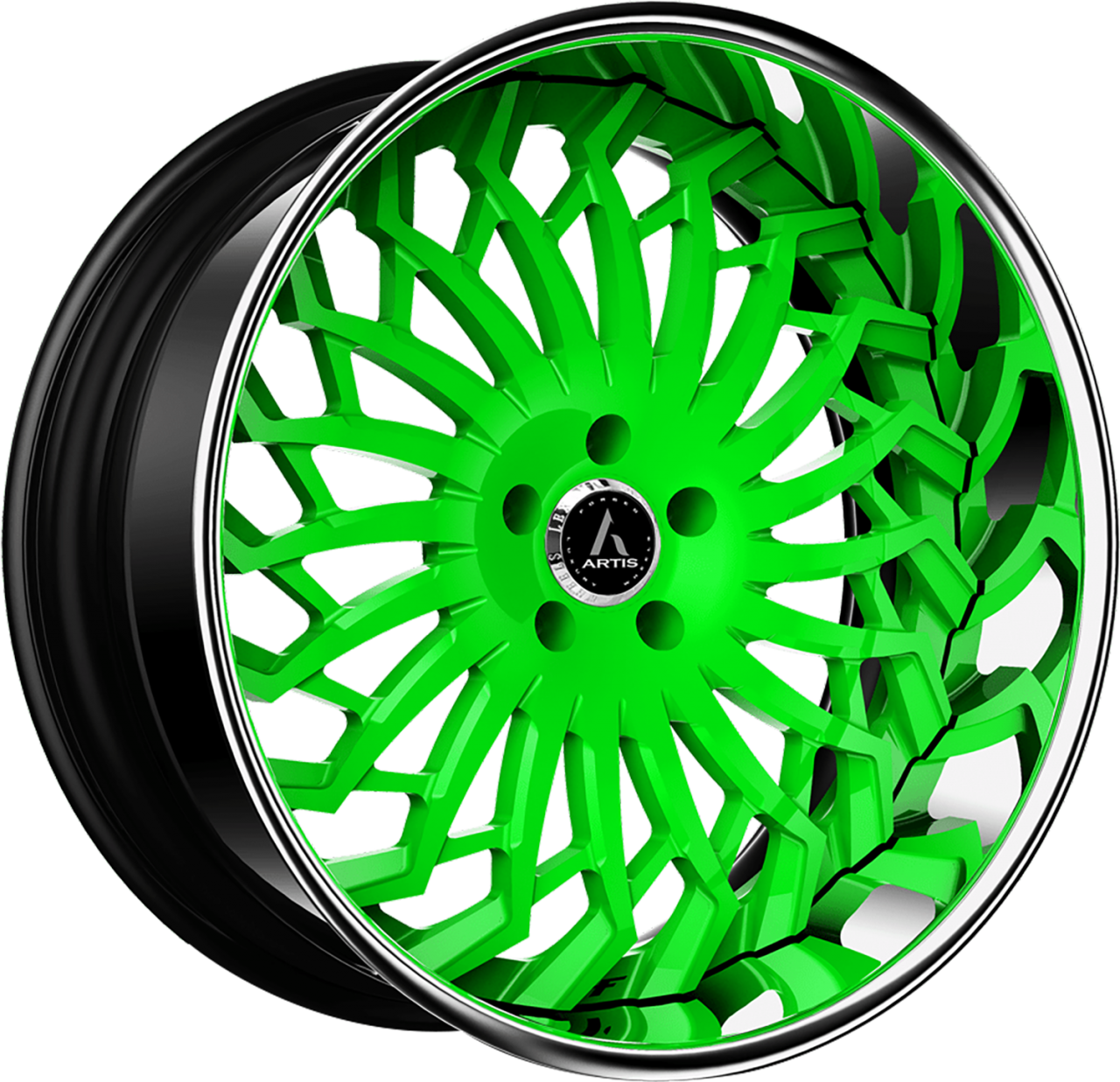 Artis Forged Spartacus wheel with Custom Neon Green finish