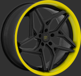 Flat black with yellow