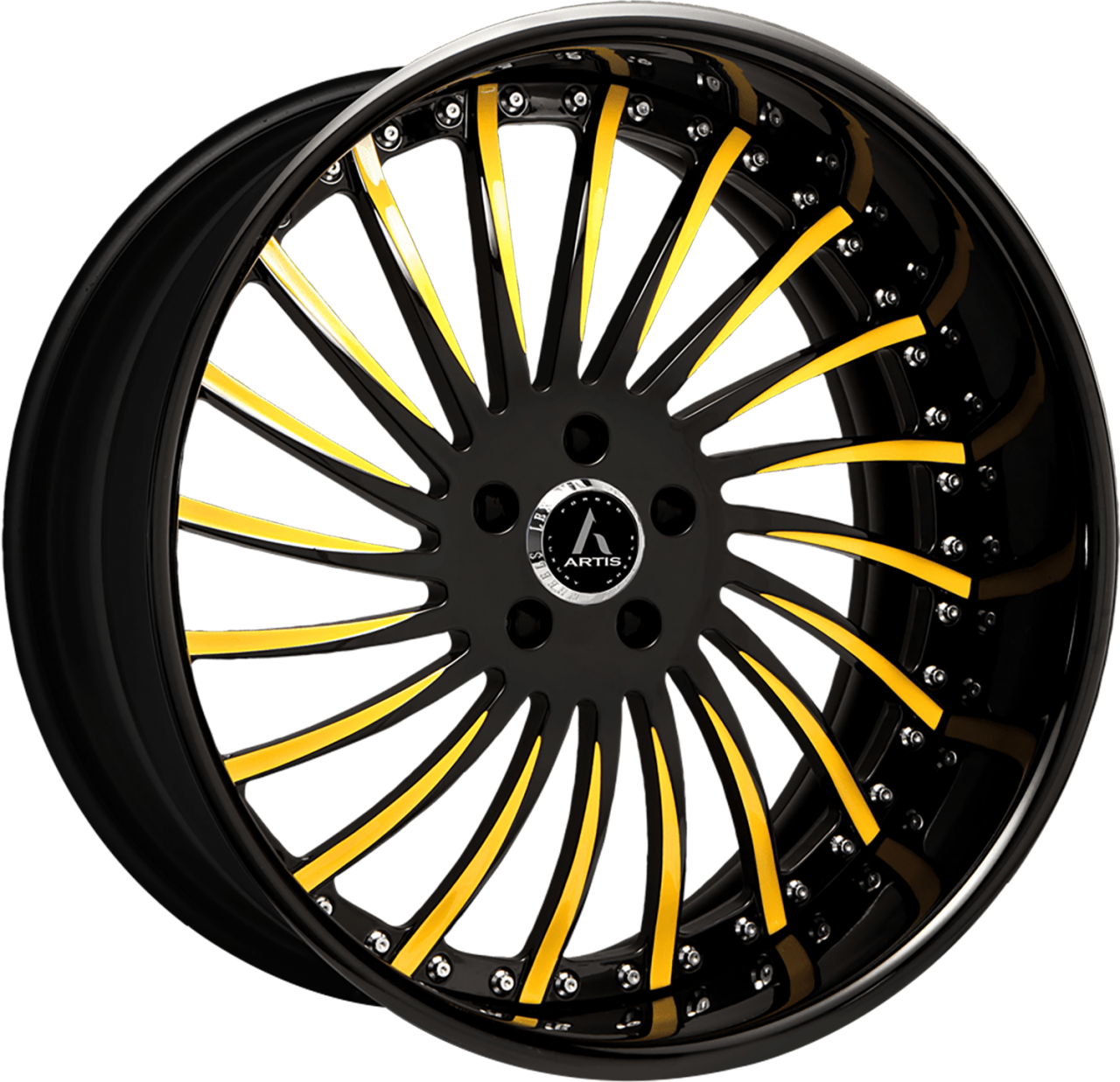 Artis Forged International wheel with Custom Black with Gold Accents finish