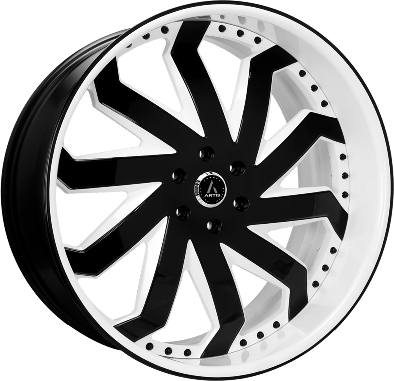 Artis Forged Rain wheel with Custom Black and White finish