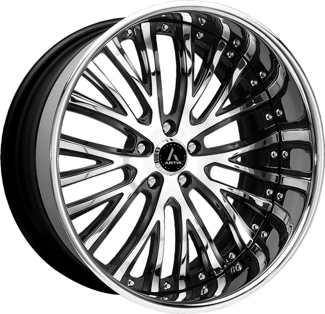 Artis Forged Woodward wheel with Custom Chrome and Black finish