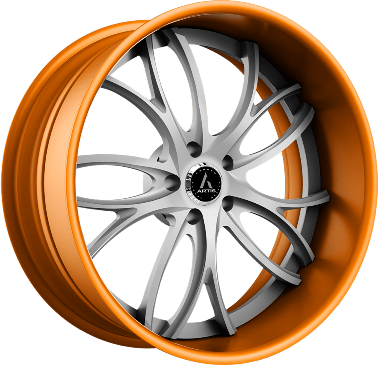 Artis Forged Biscayne wheel with Custom Silver and Orange finish