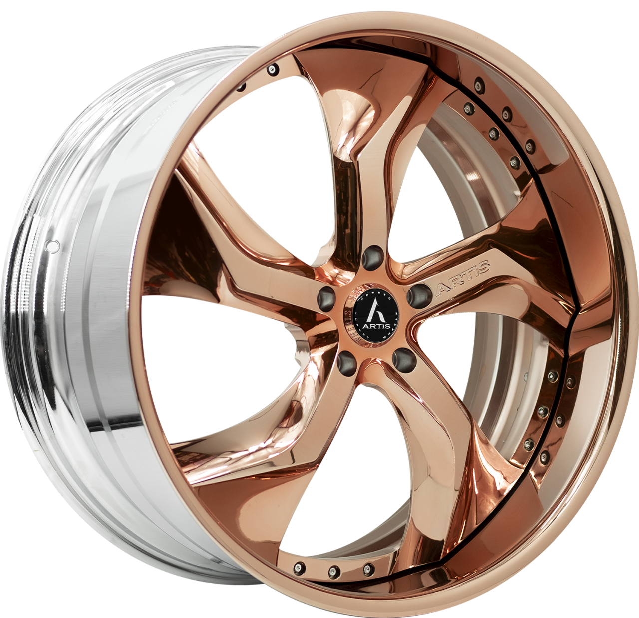 Artis Forged Bully wheel with Custom Rose Gold finish