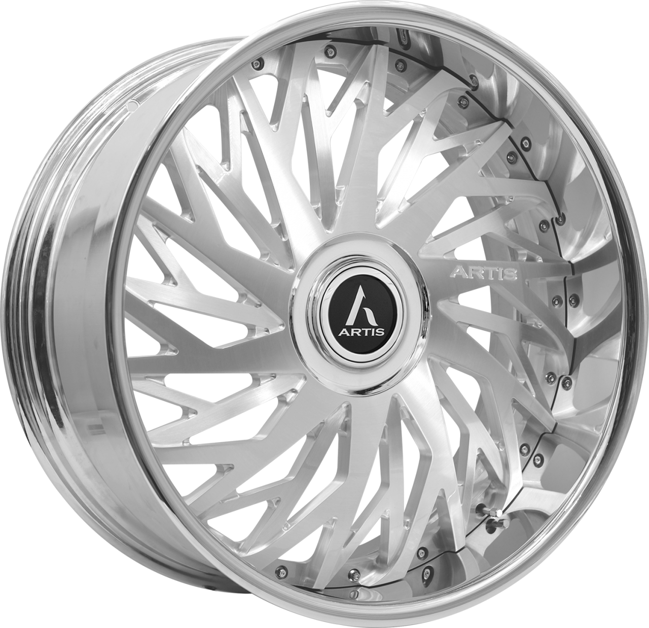 Artis Forged Northtown wheel with Brushed with XL Floater Cap finish