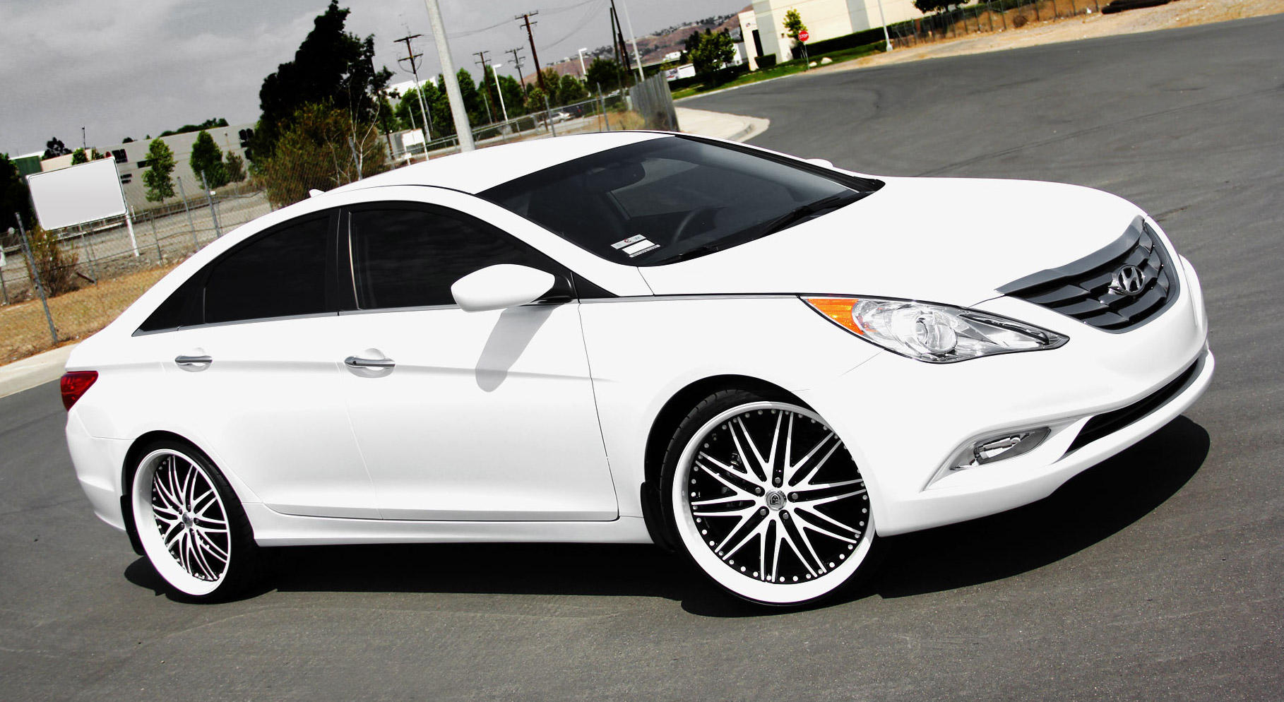 White Hyundai Sonata With White Custom Lx