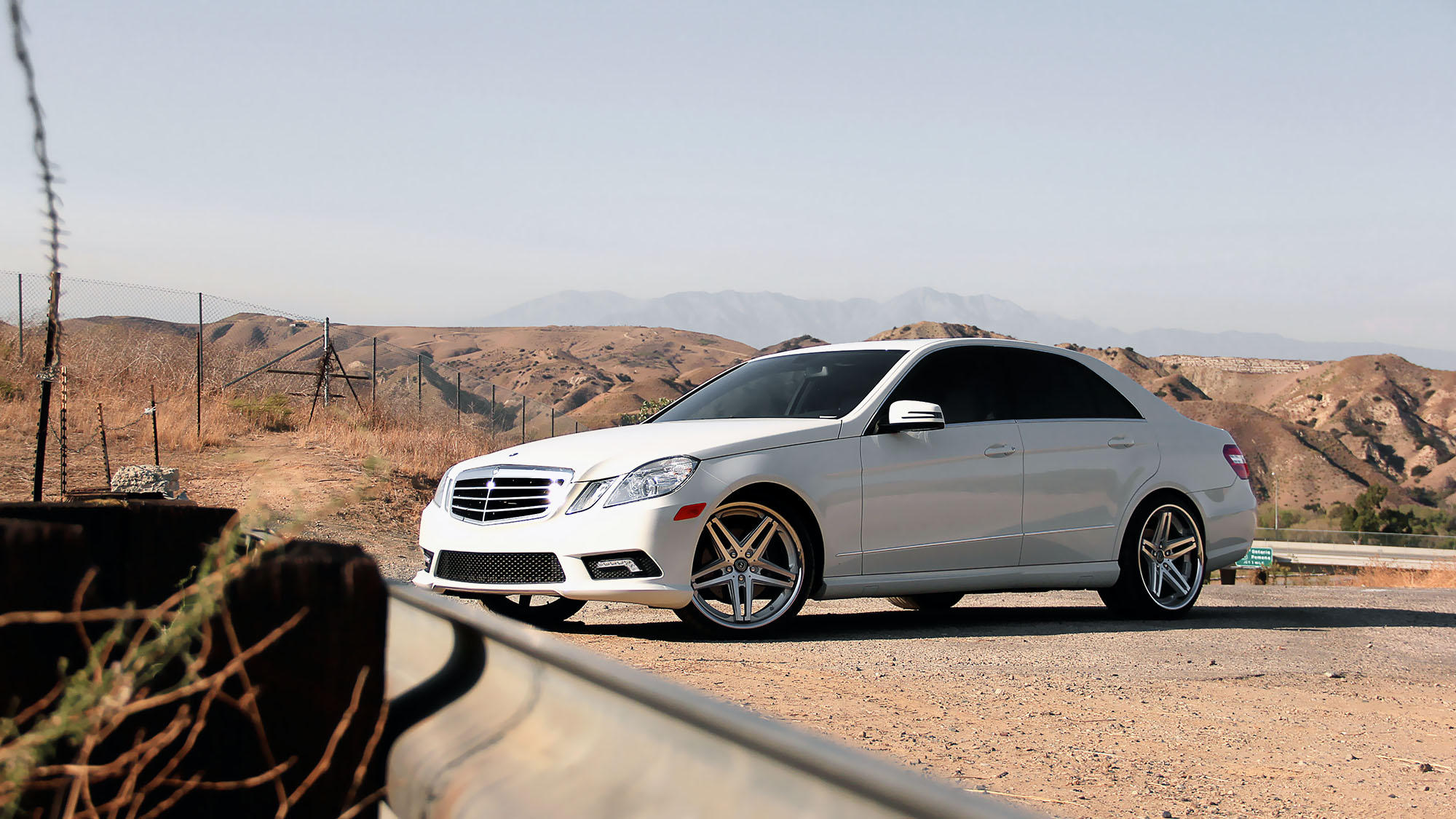 White mercedes e350 with machined and black r five wheels for Black rims for mercedes benz e350