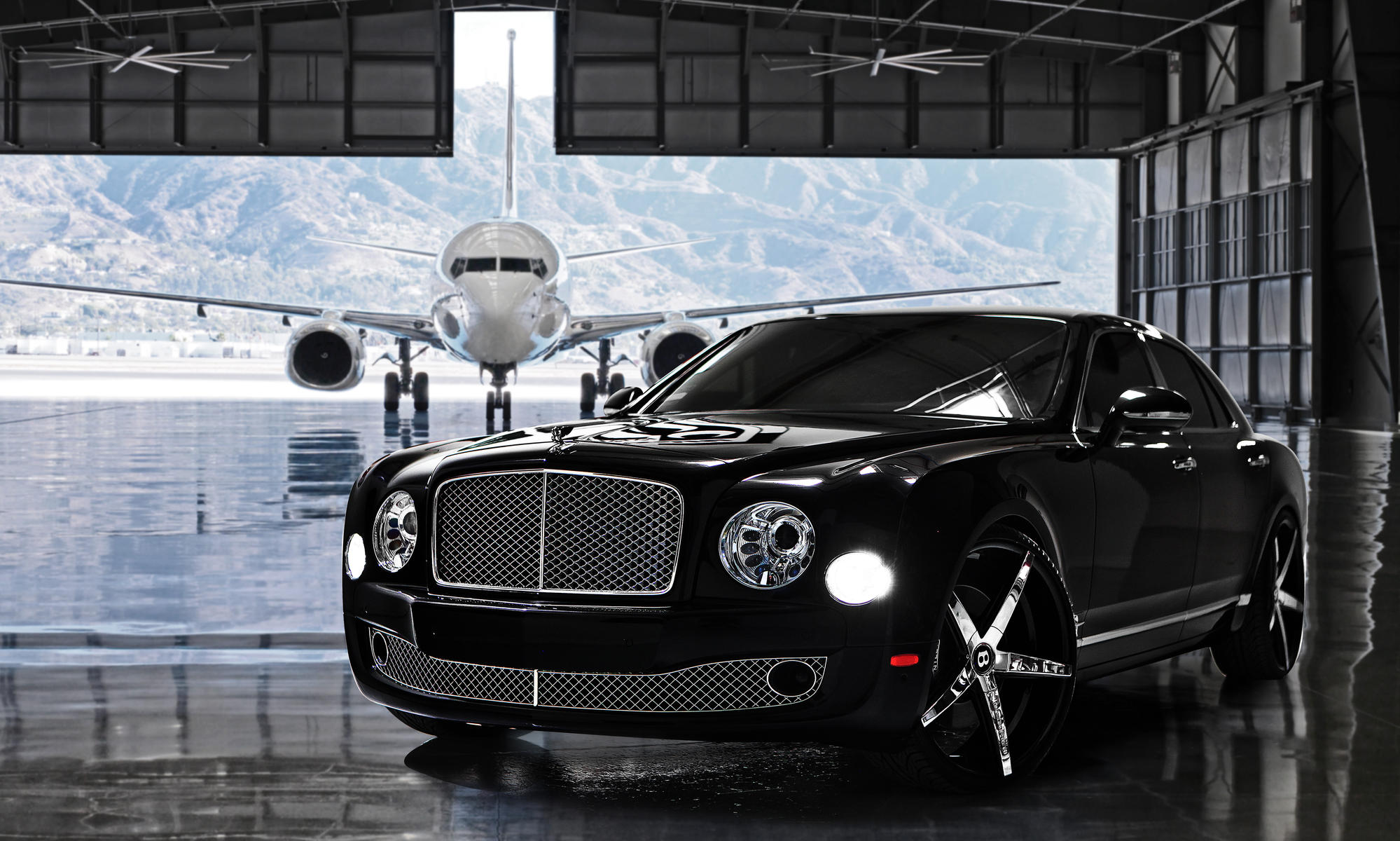 The 2013 Bentley Mulsanne on Chrome R-Four wheels, with a black lip.