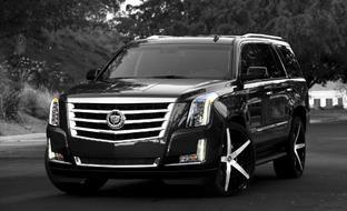 Machined and Black R-Four on the Cadillac Escalade.