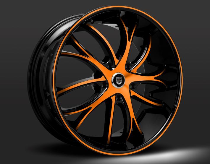 Custom black and orange finish.