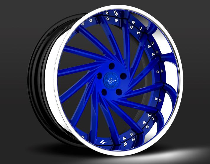 custom - blue and chrome finish.
