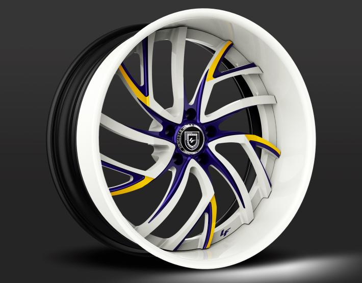 Custom - White, Purple, and Yellow finish.