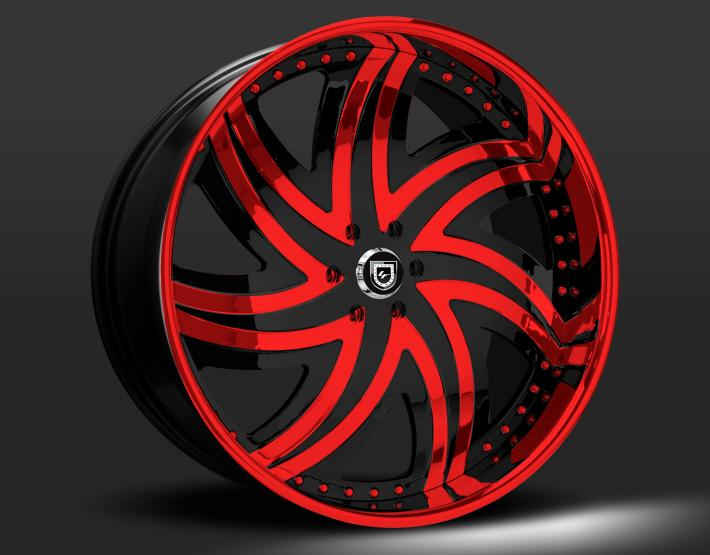 Custom black and red finish.
