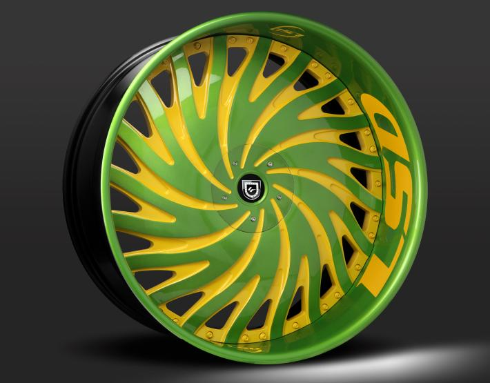 Custom green and yellow finish.