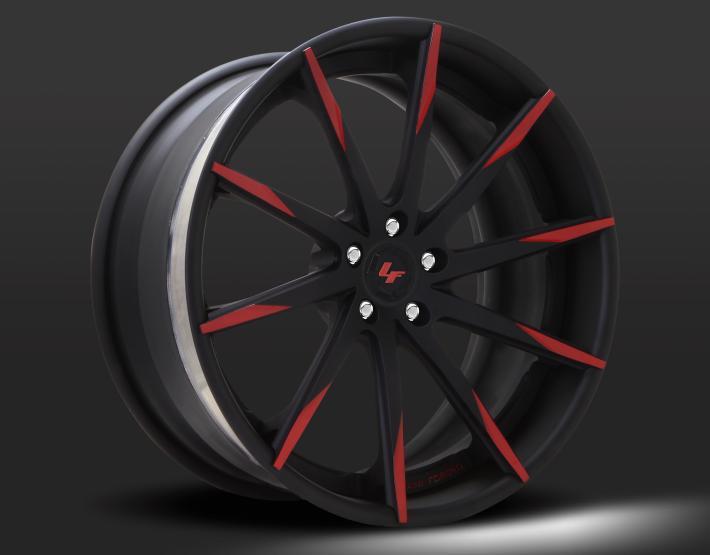 Custom - flat black and red finish.
