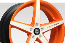 Lexani R-Four with custom finish featuring: Custom - orange and white finish.