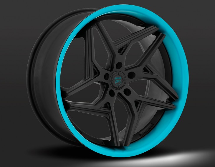 Flat black with artic blue