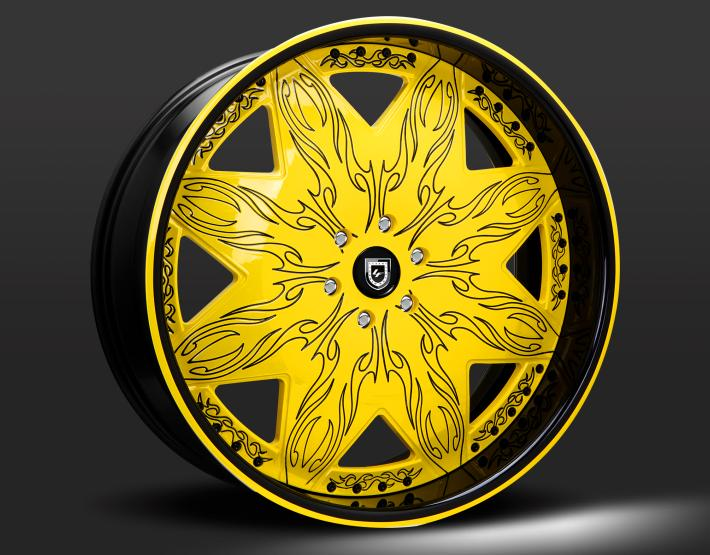 Custom black and yellow finish.